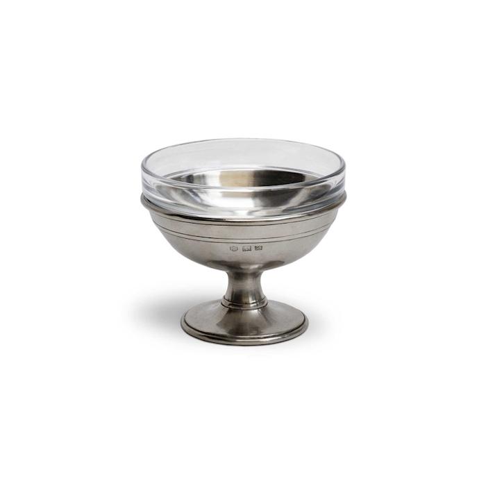 Coppa caviale Cosi Tabellini in peltro e vetro cm 12x8