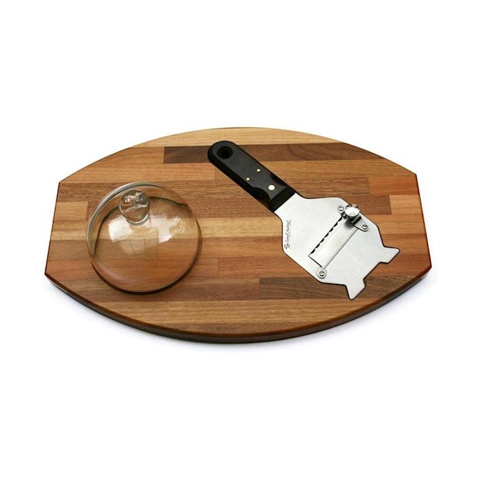 Tagliere in legno con cupola e tagliatartufi in acciaio inox Sanelli Ambrogio