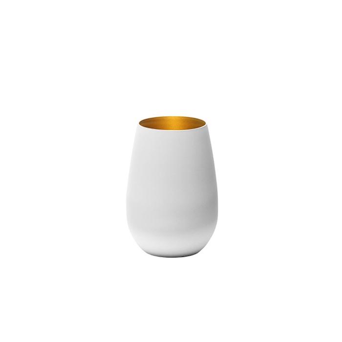 Bicchiere acqua Olympic Stolzle in vetro bicolore bianco e oro cl 46,5