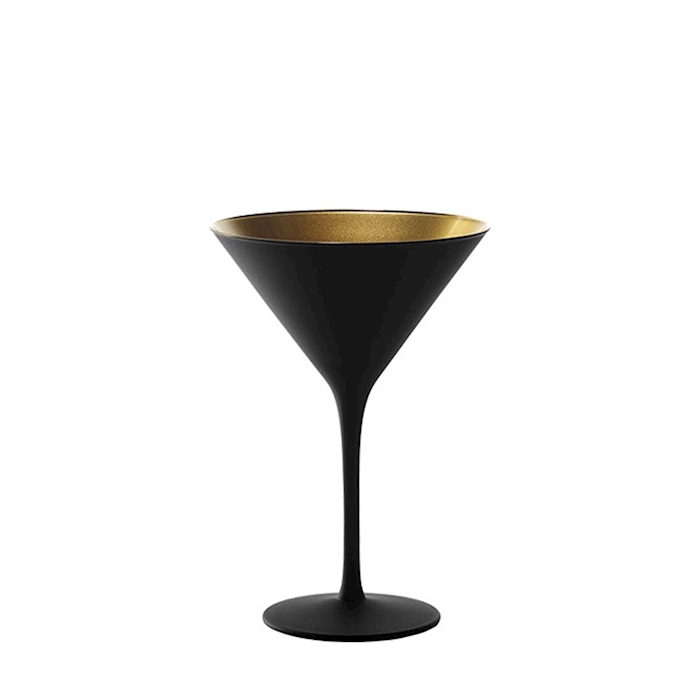 Coppa cocktail Olympic Stolzle in vetro bicolore nero e oro cl 24