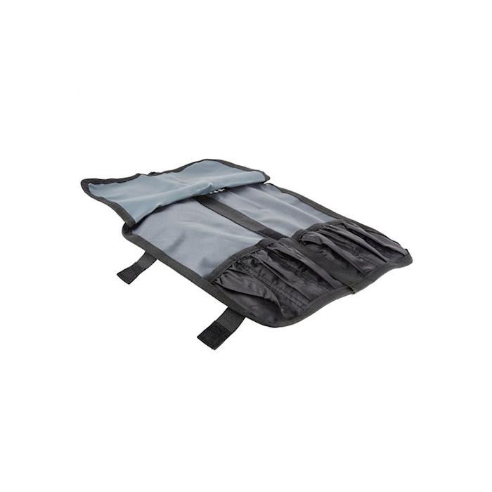 Pochette nera con 6 attrezzi per impiattamento in acciaio