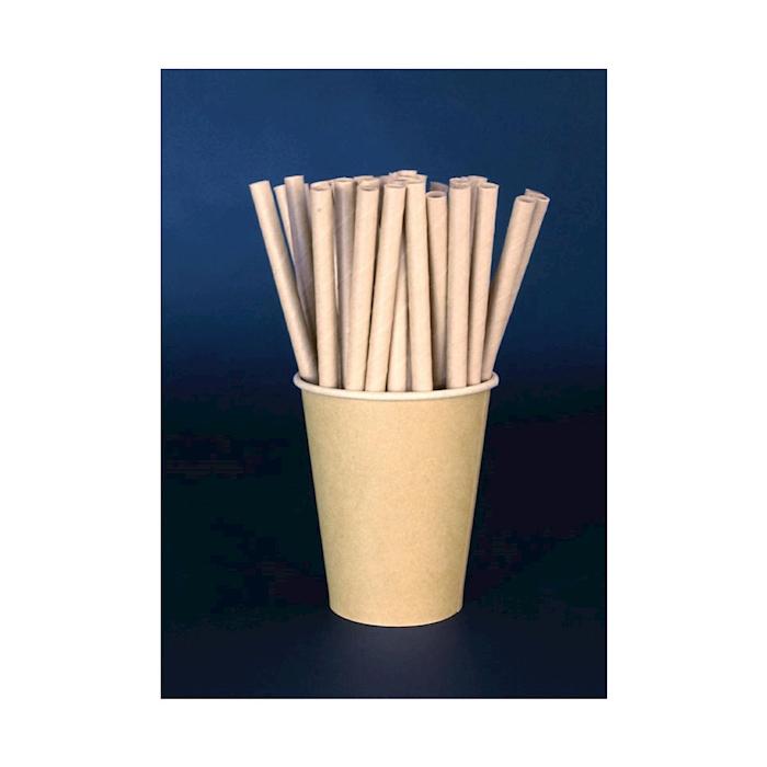 Cannucce biodegradabili in carta naturale cm 19,7x0,8