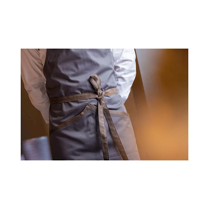 Grembiule San Sebastian con pettorina in poliestere e cotone grigio cm 100x70