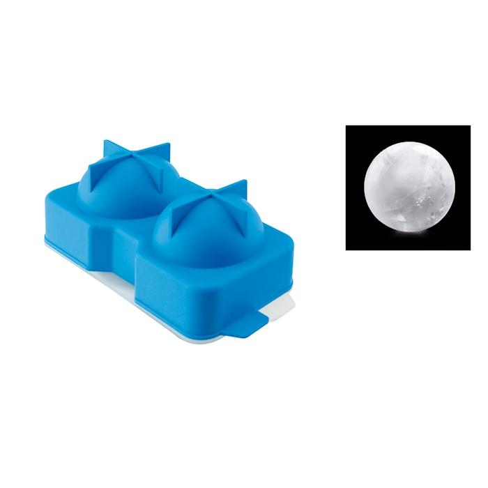 Stampo ghiaccio sfera 2 stampi in silicone blu cm 15x7,5