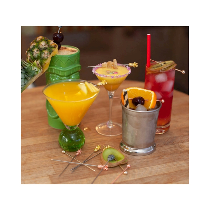 Spiedini cocktail teschio in acciaio inox cm 11,5