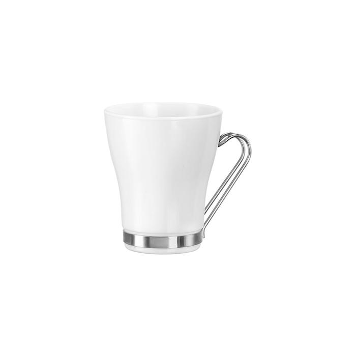 Bicchiere latte Oslo Bormioli Rocco con manico in acciaio inox in vetro bianco cl 22