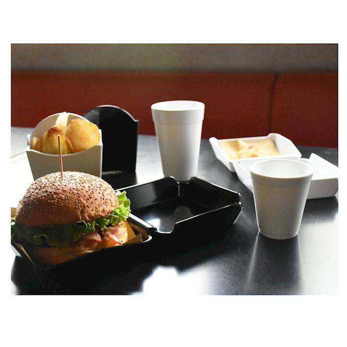 Piatto hamburger 2 scomparti in melamina nera cm 30x15