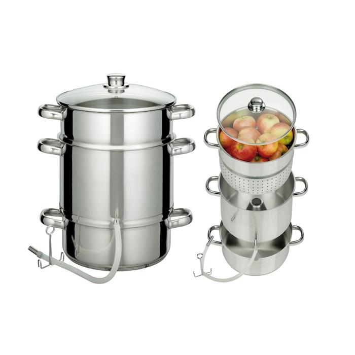 Estrattore di succhi in acciaio inox con coperchio in vetro cm 26