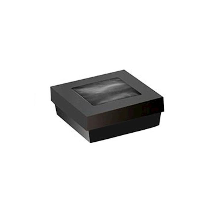 Scatola per alimenti da forno monouso in cartone nero con coperchio a finestra cm 13,5x13,5x5