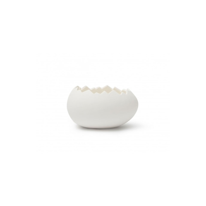 Bicchiere uovo Jurassic 100% Chef in porcellana bianca cm 13,5x9,5x7