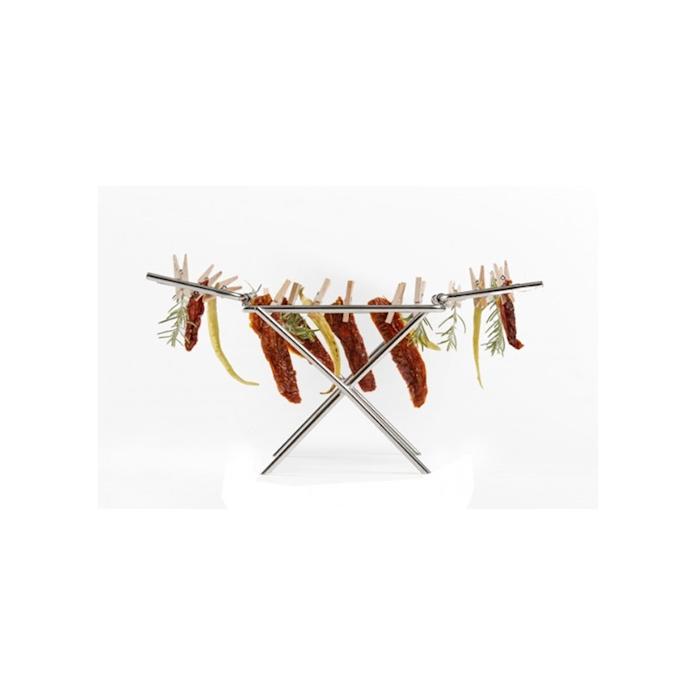 Stendino 100% Chef in acciaio inox con mollette in legno cm 24x11x16
