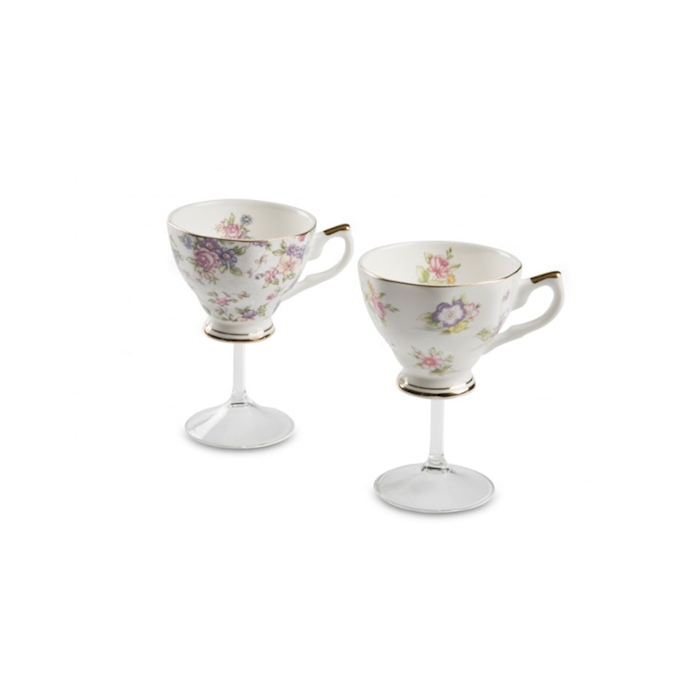 Calice Tea Cup Victorian 100% Chef in porcellana e gambo in vetro cl 20