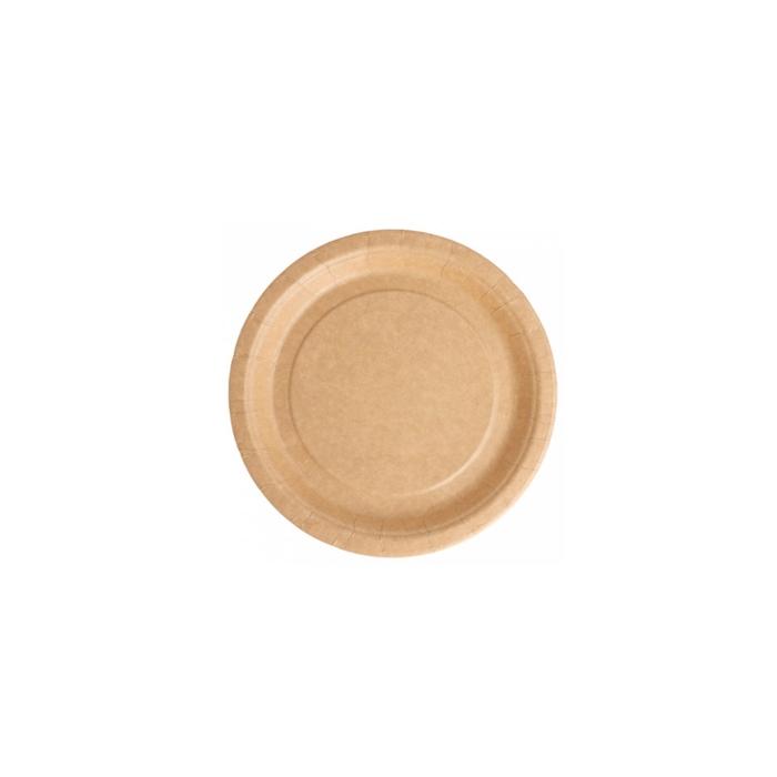 Piatto piano bio-laccato in carta marrone cm 18