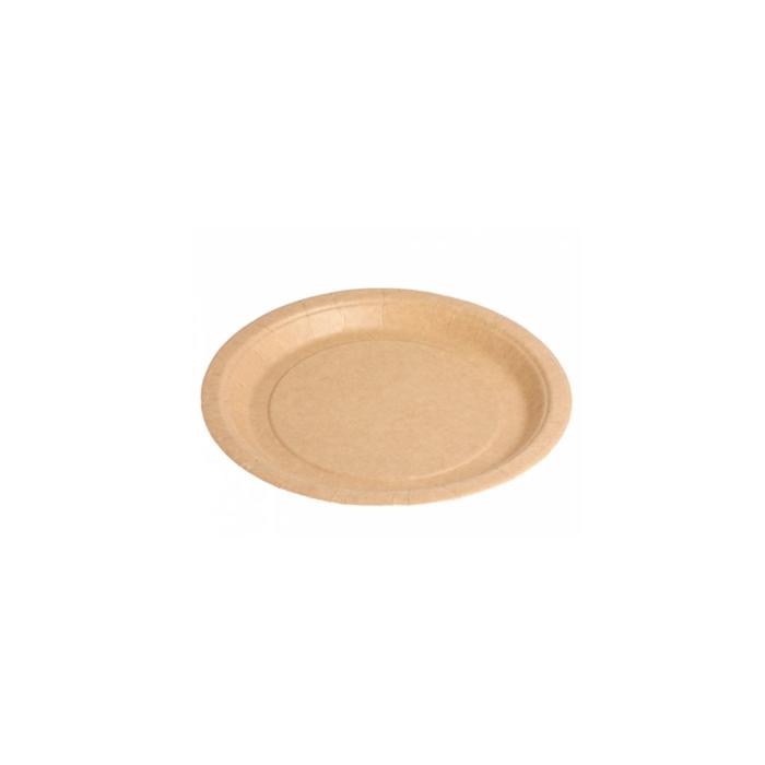 Piatto piano bio-laccato in carta marrone cm 20