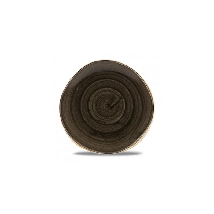 Piatto coupe Stonecast Patina Organic Churchill in ceramica vetrificata nera cm 25,3
