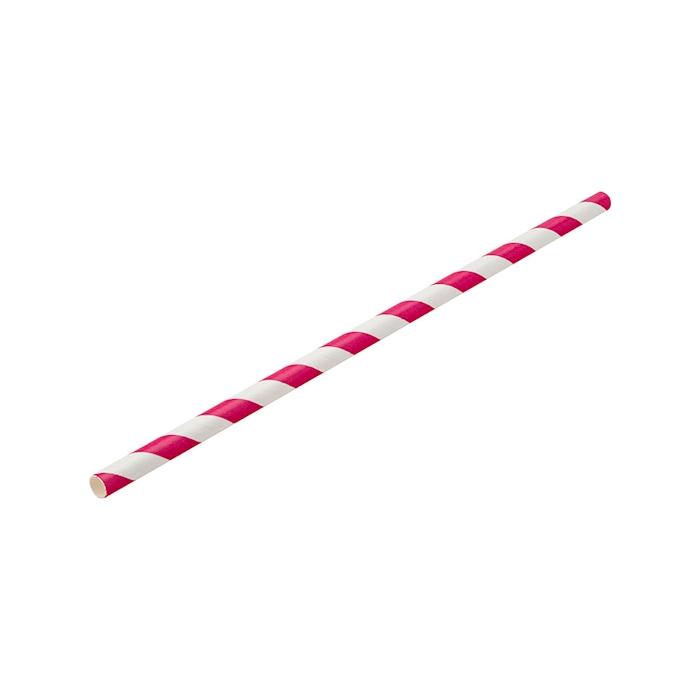 Cannucce biodegradabili con decoro a spirale in carta bianca e rosa cm 20x0,6