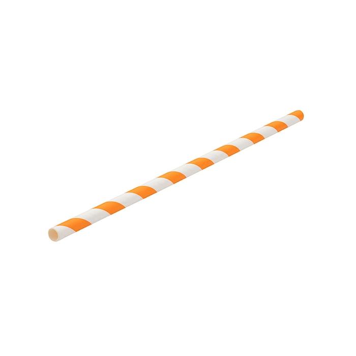 Cannucce biodegradabili con decoro a spirale in carta bianca e arancione cm 20x0,6