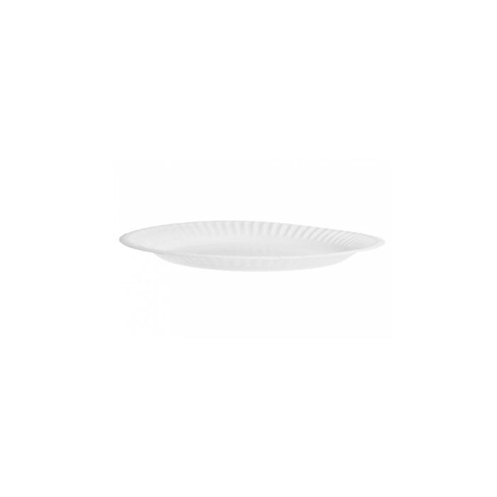 Piatto piano bio-laccato in carta bianca cm 15