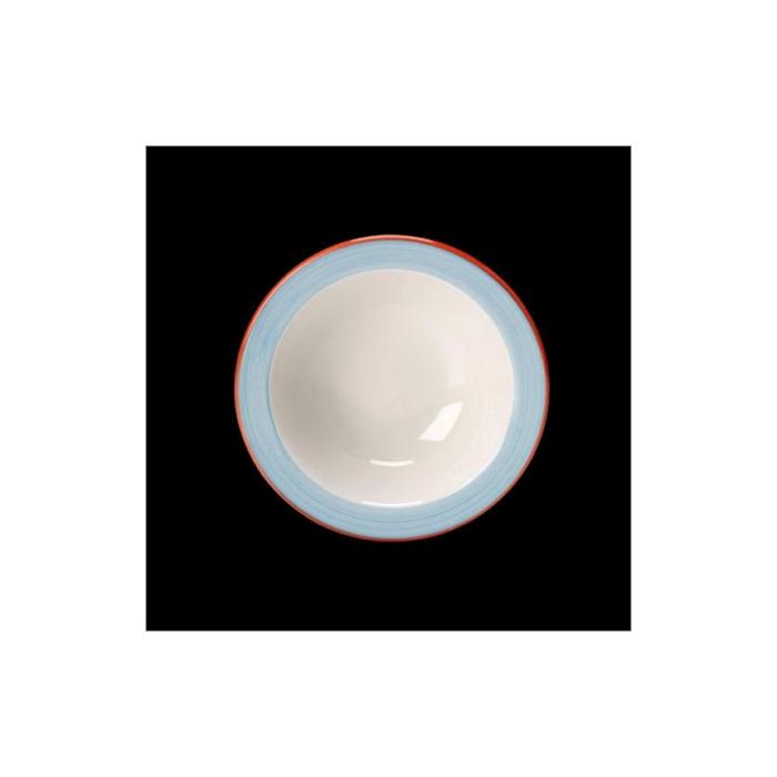 Bowl Performance Rio Steelite in ceramica vetrificata bianca con fascia azzurra cm 16,5