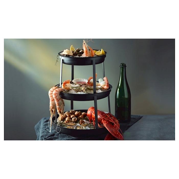 Alzata 3 piani Seafood Stand Steelite per frutti di mare in metallo nero cm 40