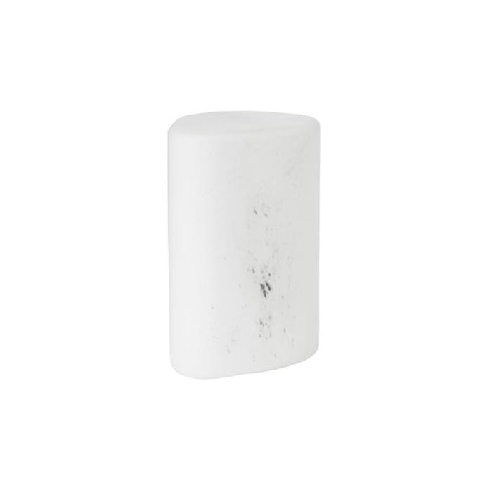 Porta candela led Pebble Duni in vetro bianco marmorizzato cm 10,3x8,5x14
