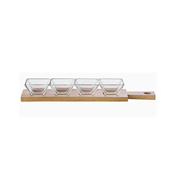 Set Torcello con vassoio in legno e 4 coppette in vetro