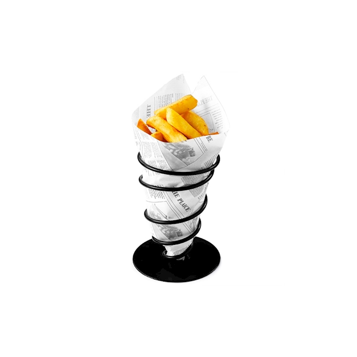 Cono porta fritti in acciaio nero cm 11x18