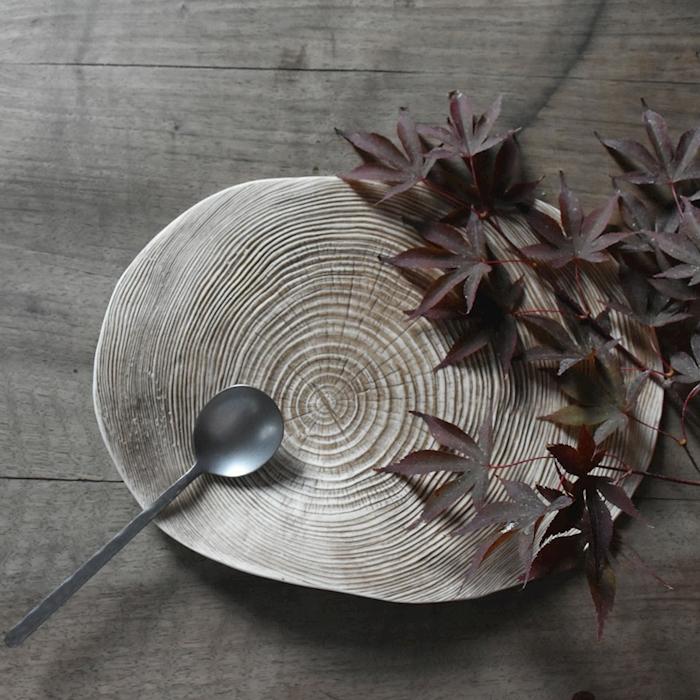 Piatto Carpaccio Wood XL 100% Chef in porcellana marrone cm 27x21