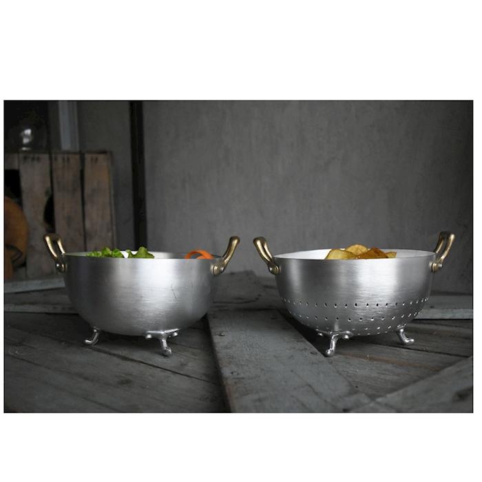 Porta pane zuppiera con 2 manici e 3 piedi in alluminio cm 16