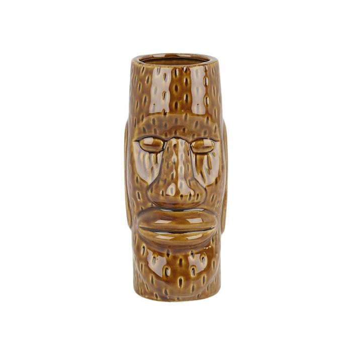 Tiki mug Isola di Pasqua in ceramica marrone cl 45