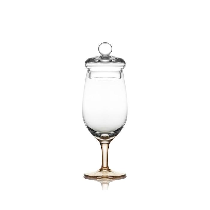Calice Amber Glass whisky con coperchio e stelo ambrato in vetro cl 13