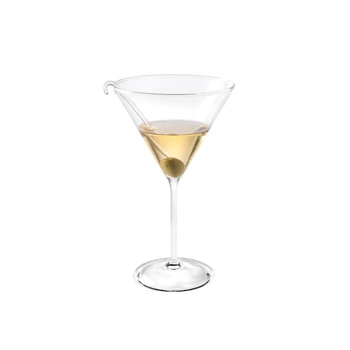 Coppa martini con stecco per olive in vetro soffiato cl 38