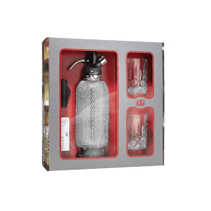 Set sifone soda Classic iSi con bombolette e bicchieri vintage