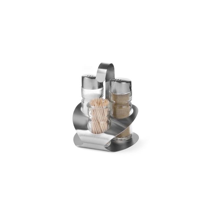 Set sale pepe e stuzzicadenti Hendi in acciaio inox e vetro