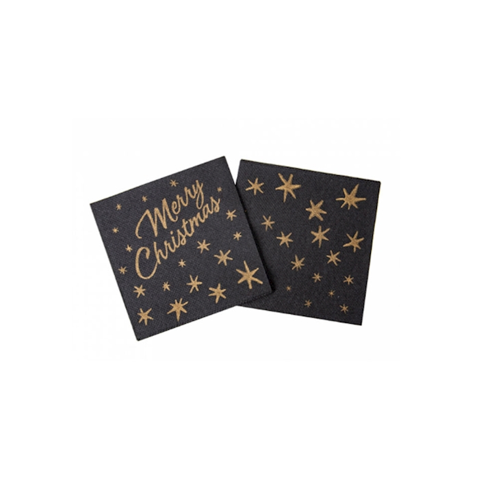 Tovagliolo Merry Christmas in cellulosa nera a decori oro cm 20x20