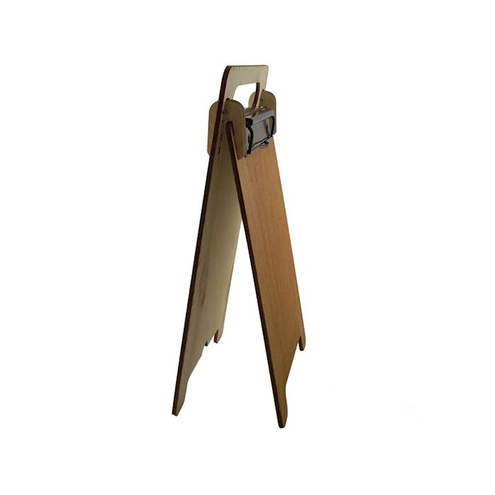 Porta menù A5 a cavalletto con doppia clip in legno