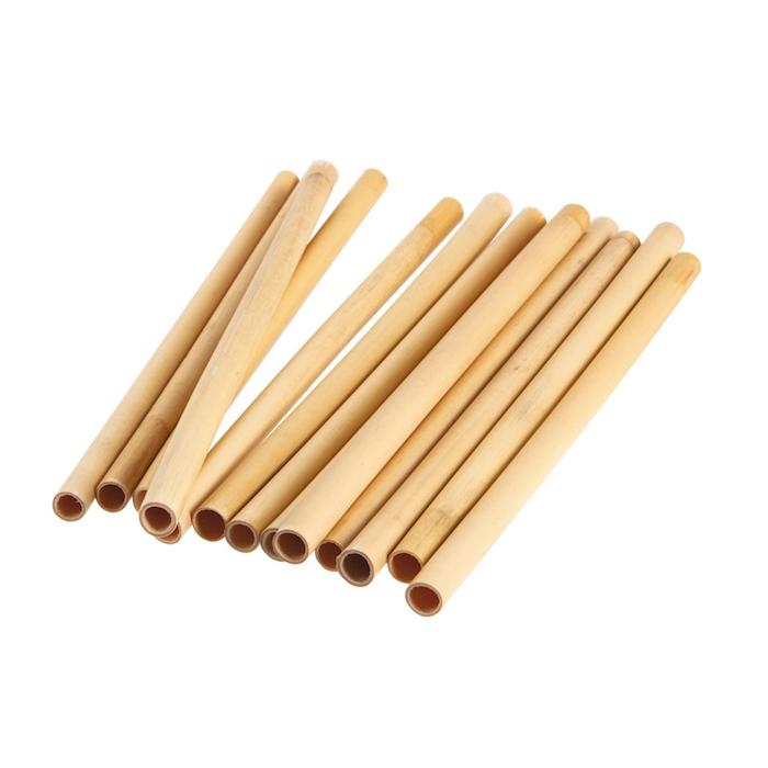 Cannucce riutilizzabili in legno bamboo colore naturale cm 20x1-1,2