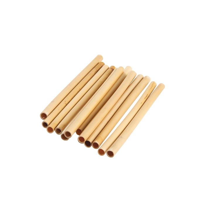 Cannucce riutilizzabili in legno bamboo colore naturale cm 18x1-1,2