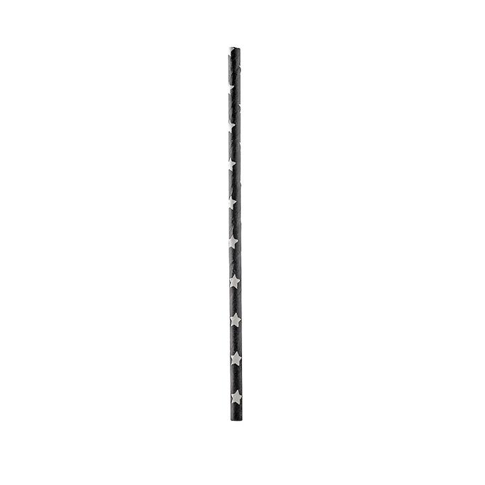 Cannucce biodegradabili con stelle in carta nera cm 20x0,5