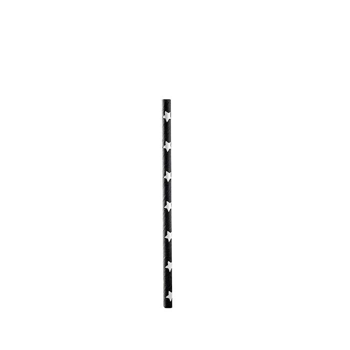 Cannucce biodegradabili con stelle in carta nera cm 14,5x0,5
