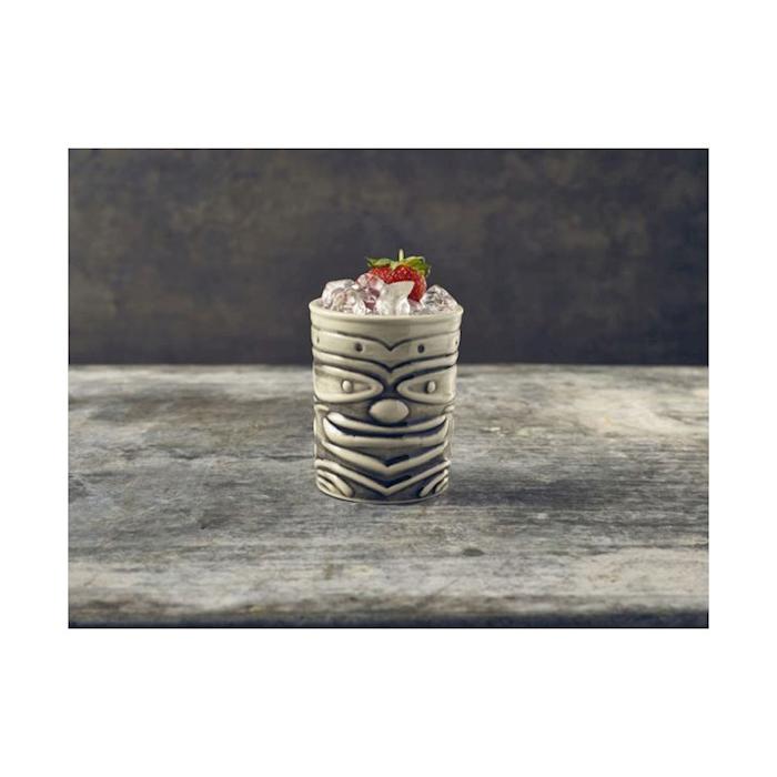 Tiki mug Smile in porcellana bianca e nera cl 36