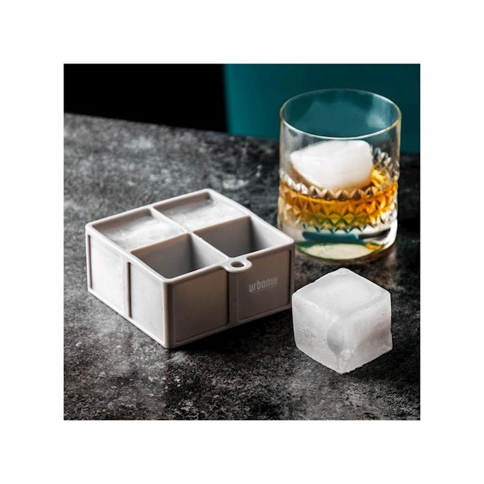 Stampo ghiaccio Ice Cube 4 cubi Urban Bar in silicone grigio cm 4,5