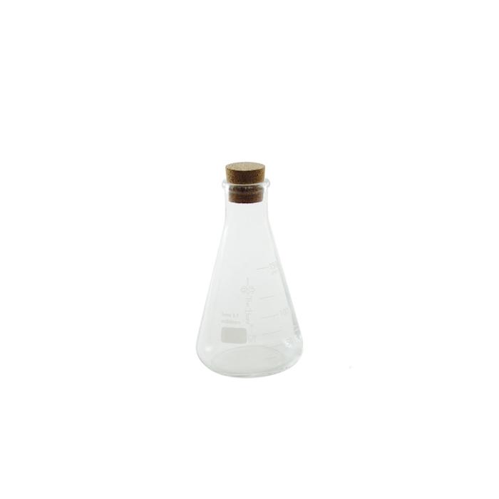 Ampolla conica graduata in vetro con tappo in sughero cl 15