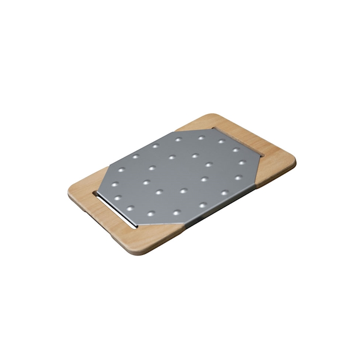 Tagliere Giusto per pinsa e pizza in acciaio inox e legno cm 29,5x23