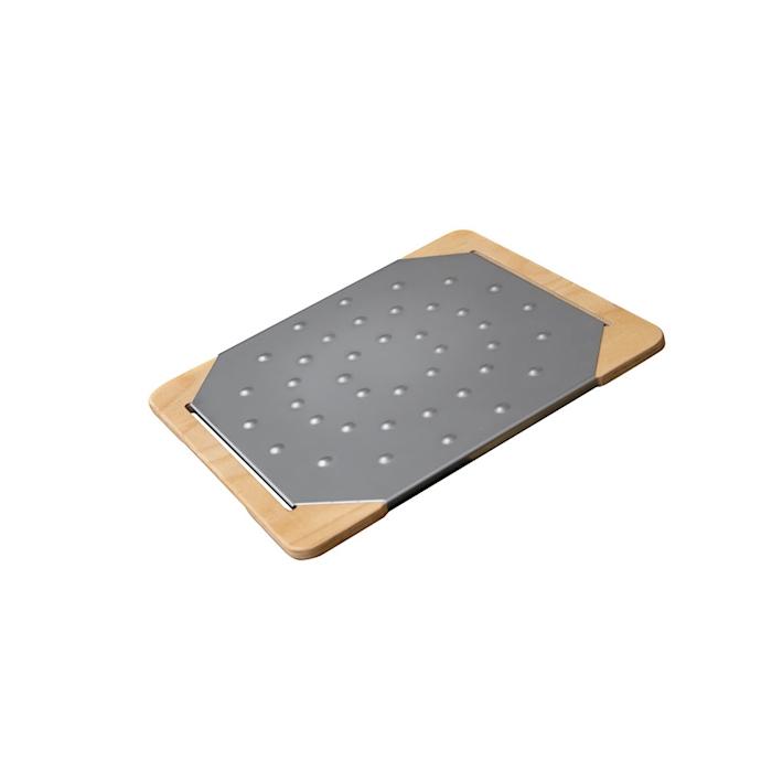 Tagliere Giusto per pinsa e pizza in acciaio inox e legno cm 35x30