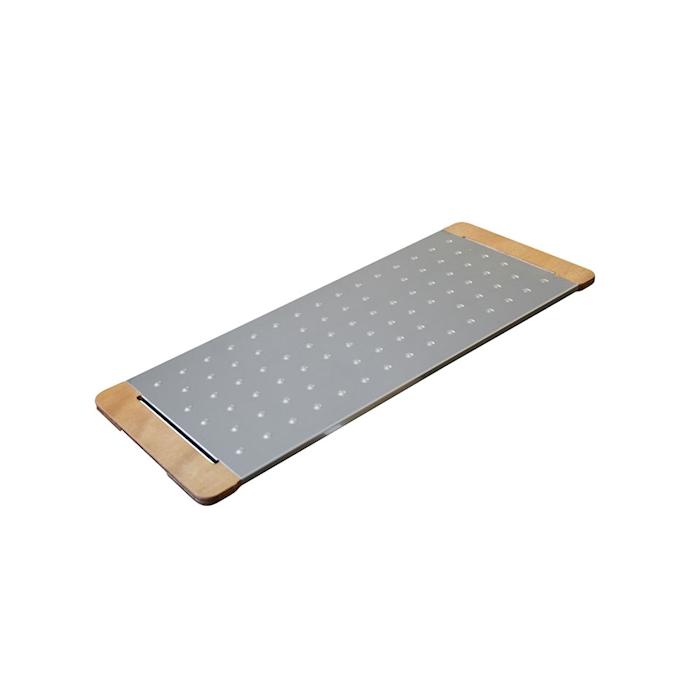 Tagliere Giusto per pinsa e pizza in acciaio inox e legno cm 75x30