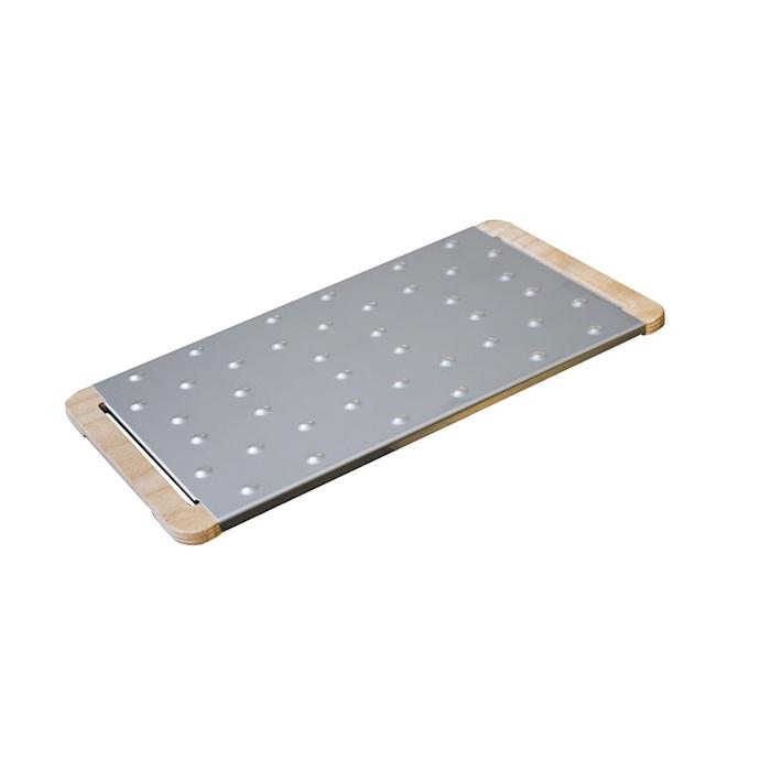 Tagliere Giusto per pinsa e pizza in acciaio inox e legno cm 38,5x22,5