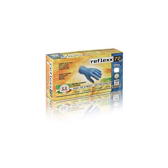 Guanti Reflexx senza polvere in nitrile azzurro taglia S