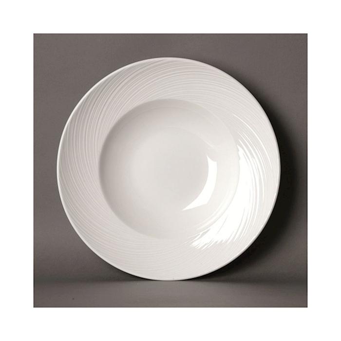 Piatto fondo Spyro Distinction Steelite in ceramica vetrificata bianca cm 26,5