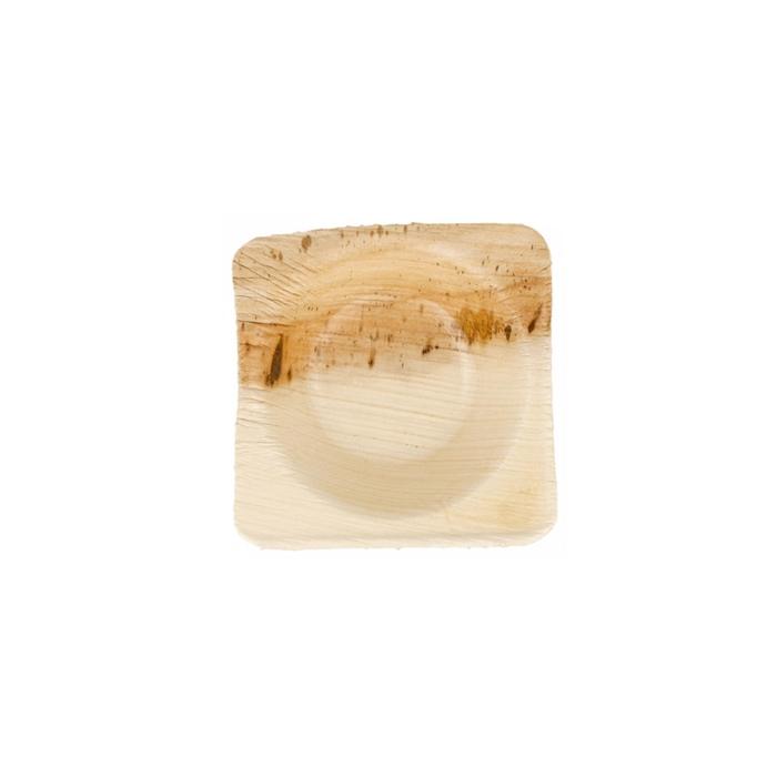 Piattino per salse in foglia di palma biodegradabile cm 5x5